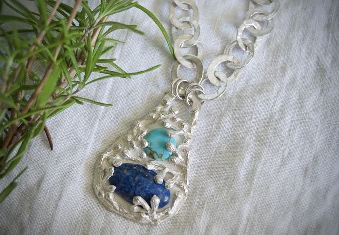Lapis lazuli, turquoise necklace, silver jewelry, gift for her, OOAK necklace,