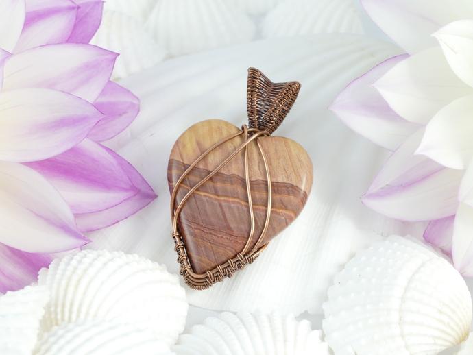 Wonderstone Jasper Copper Pendant; Wire Wrapped Woven Pendant chain included