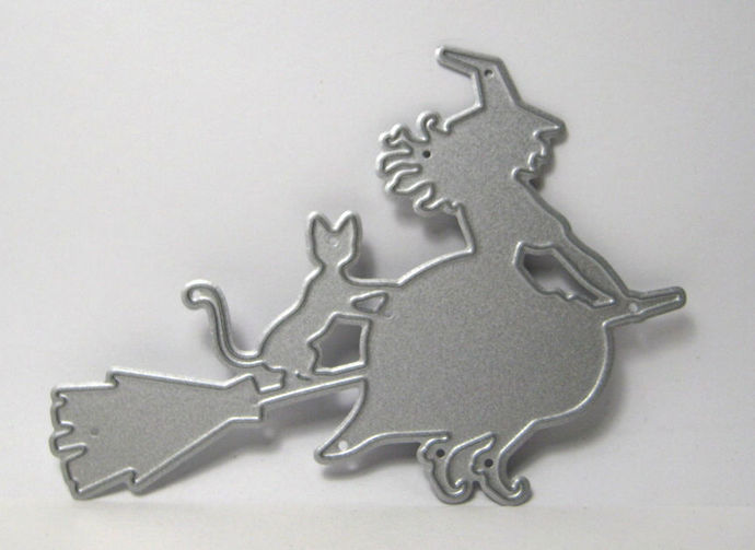 Witch and Cat on Broom Metal Cutting Die