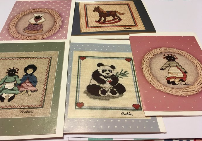 Cute Vintage Blank Cross Stitch Note Cards By Robin Rowe Set of Five