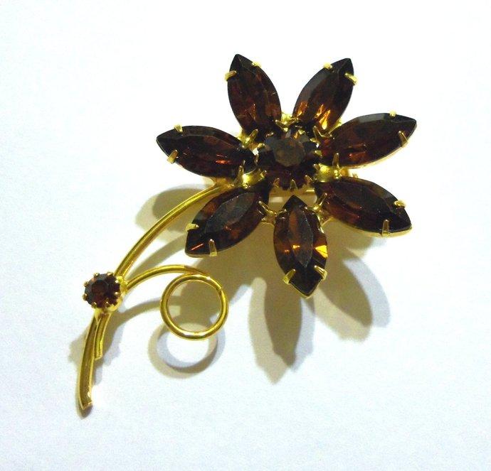 Sparkling Dark Topaz Rhinestone Flower Brooch