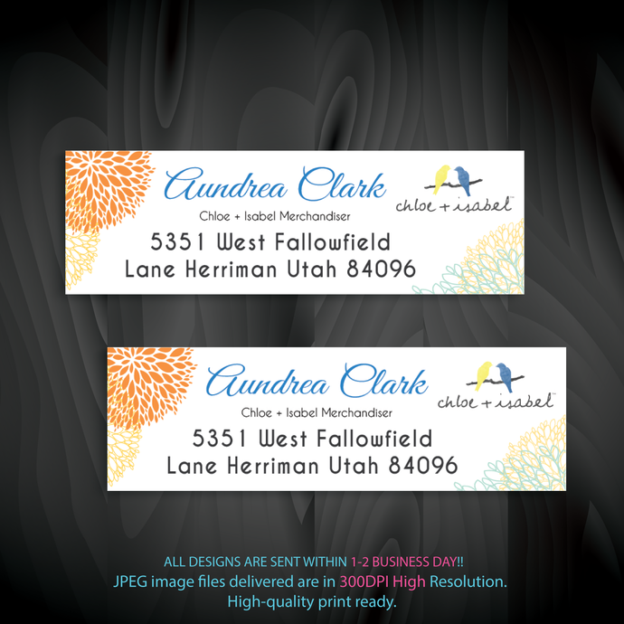 Personalized Chloe and Isabel Return Labels, Chloe and Isabel Address labels,