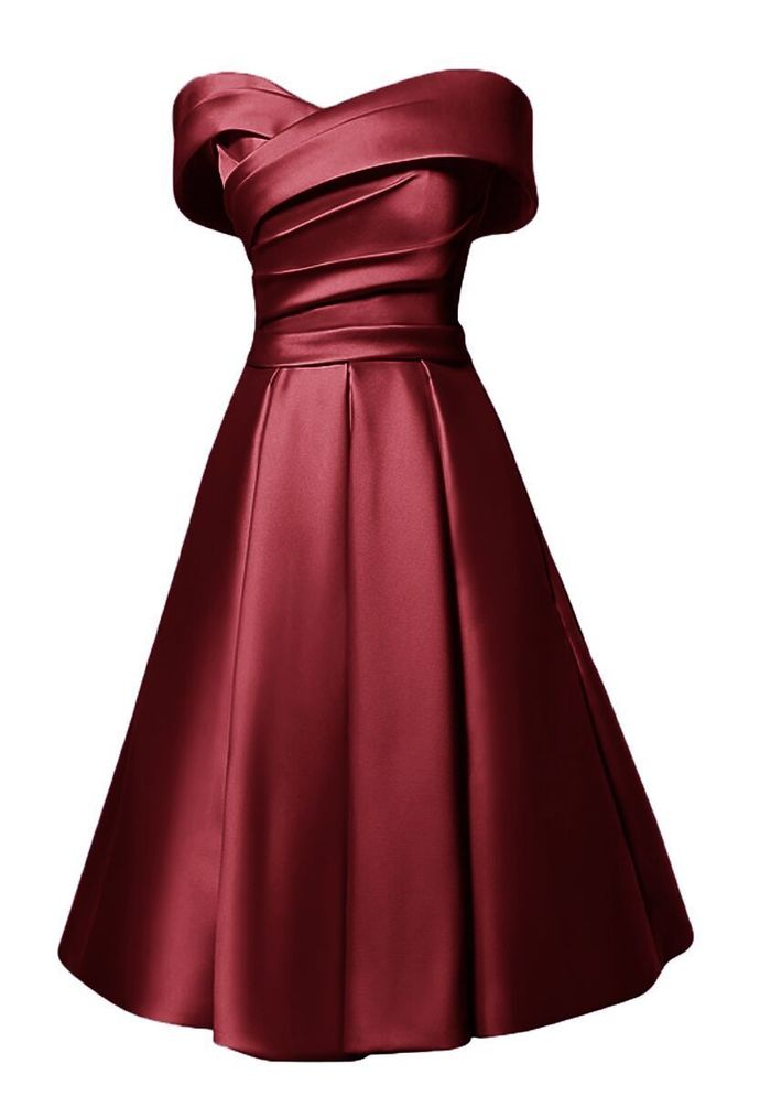 Wine Red Off Shoulder Satin Bridesmaid Dress, Lovely Party Dress 2019