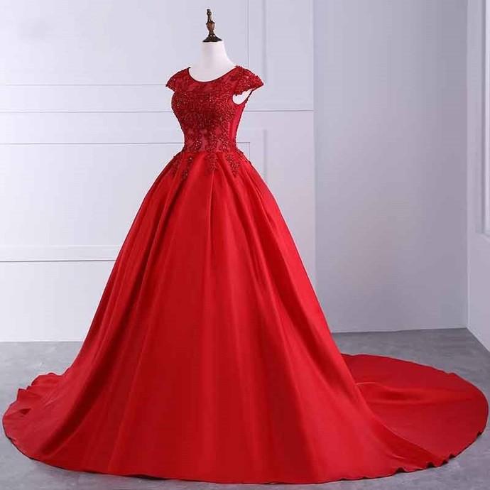 Ball Gown Cap Sleeve Popular New Evening Dress