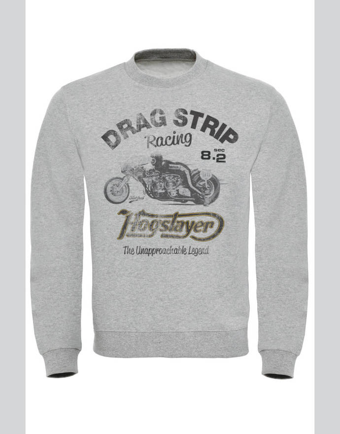 Hogslayer Drag Strip Racing Vintage Motorcycle Print Sweatshirt
