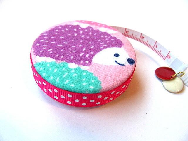 Tape Measure Hedgehogs on Flannel Retractable Measuring Tape
