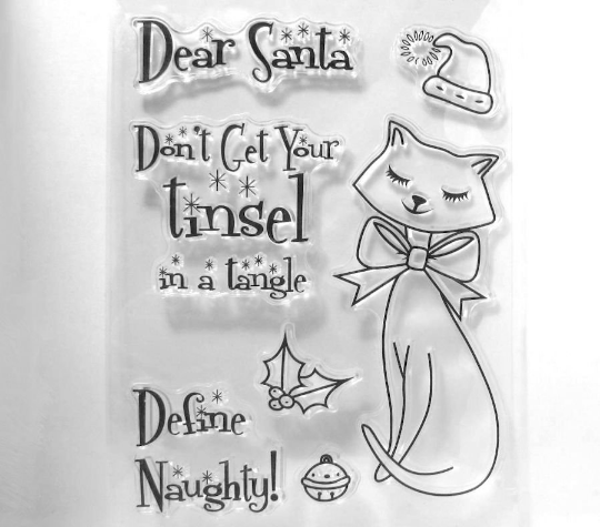 Cat and Santa Clear Stamps Don't get your Tinsel in a Tangle