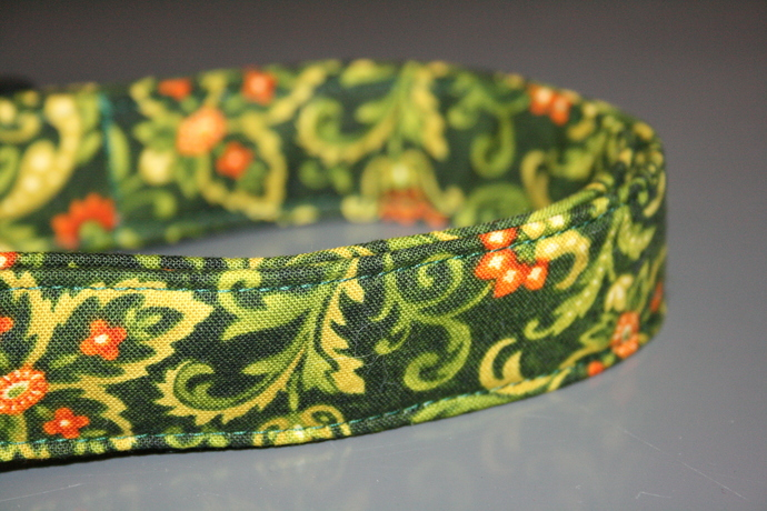 Leaves Swirls Green Orange Adjustable Dog & Cat Collars & Martingales & Leashes
