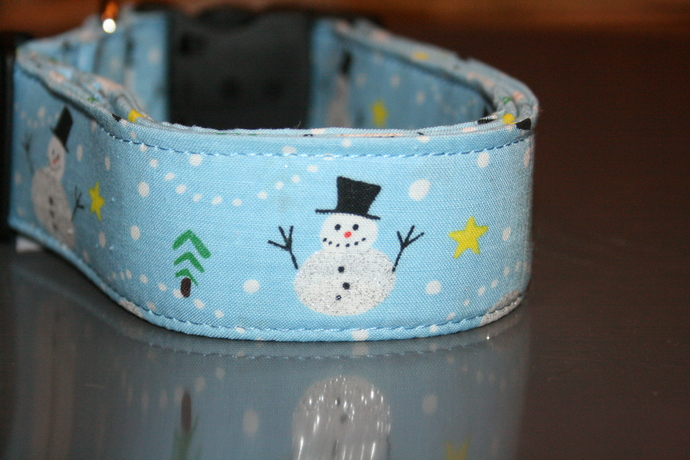 Light Blue Snowmen Christmas Adjustable Dog & Cat Collars & Martingales &