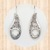 Sterling Silver Angled Teardrop Earrings  with Cross Cutout & Tribal Design
