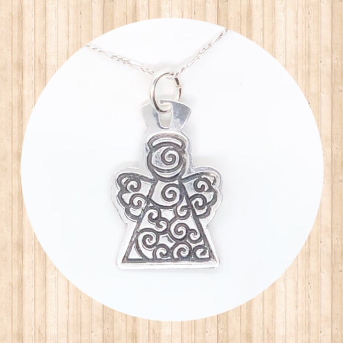 Sterling Silver Swirled Angel Pendant