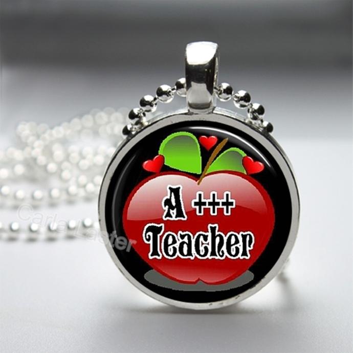 Teacher gift idea with handmade art pendant. Pendant necklace, teacher's pet,