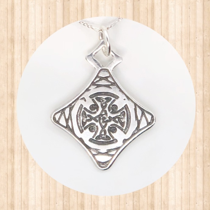 Sterling Silver Diamond-Shaped Celtic Cross Pendant with Lacy Circular Design.