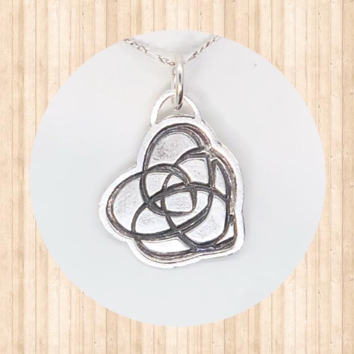Sterling Silver Celtic Heart Knot Pendant.