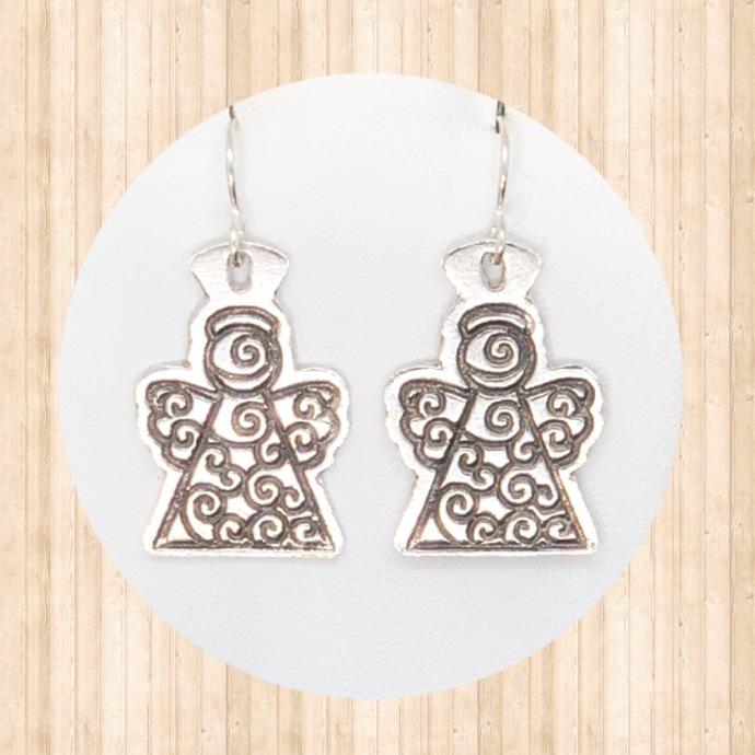 Sterling Silver Dangle Earrings with Swirl Angels