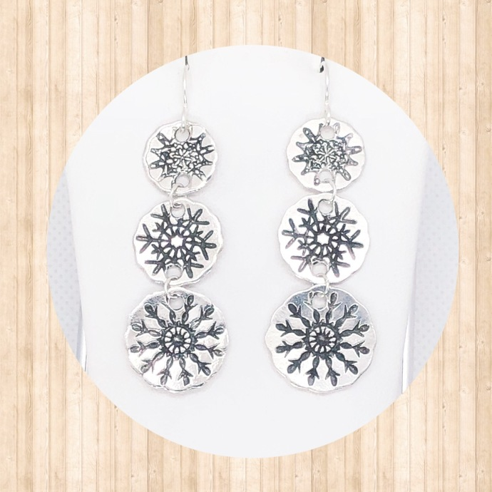 Sterling Silver Snowflake Drop Earrings with 3 Connected Charms