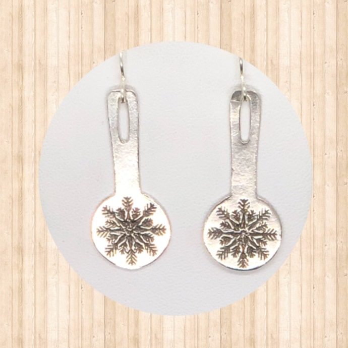 Sterling Silver Drop Earrings with Snowflakes