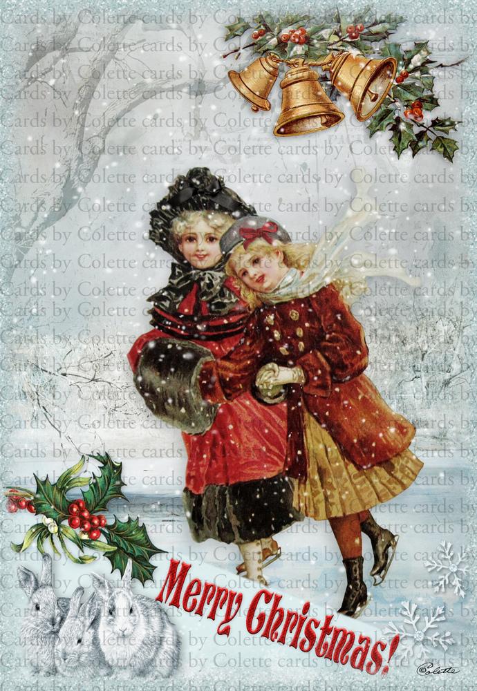 Christmas Friends Skating Digital Collage Greeting Card 2058