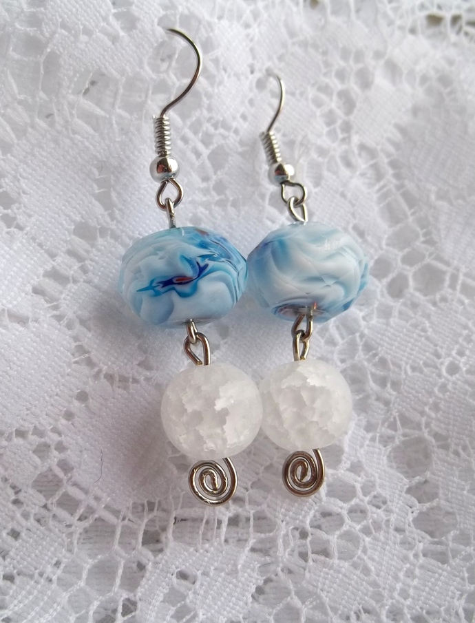 Swirled Blue Glass Earrings
