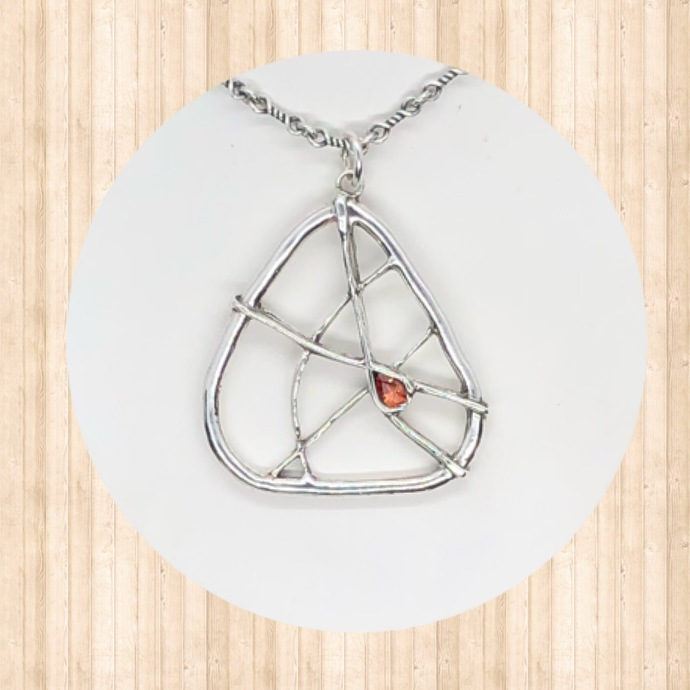 Fine Silver Abstract Open Pendant with Orange Pear-Shaped CZ.