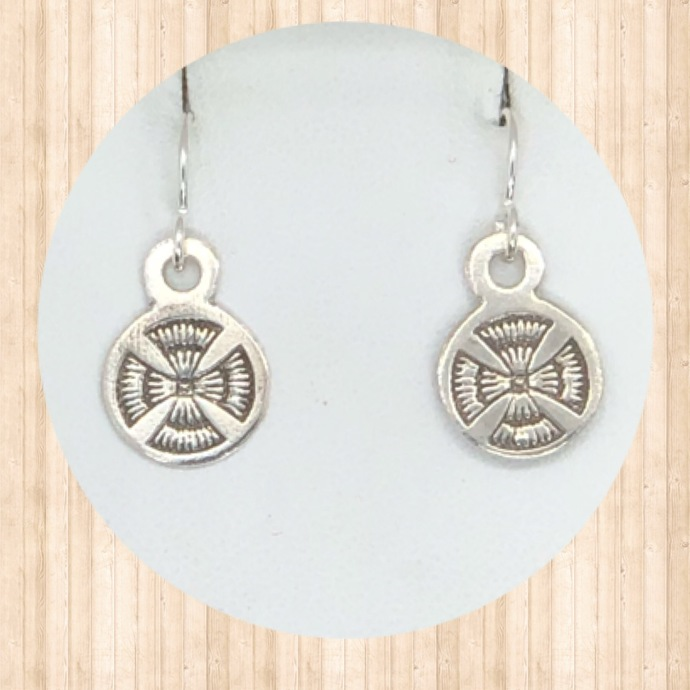 Sterling Silver Small Circular Drop Earrings  with Angel Cross.