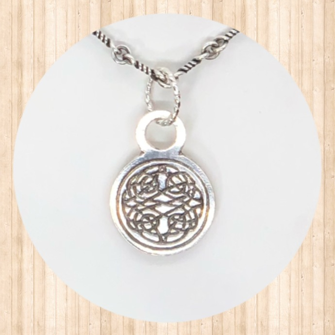 Sterling Silver Small Circular Drop Pendant with Celtic Knot.