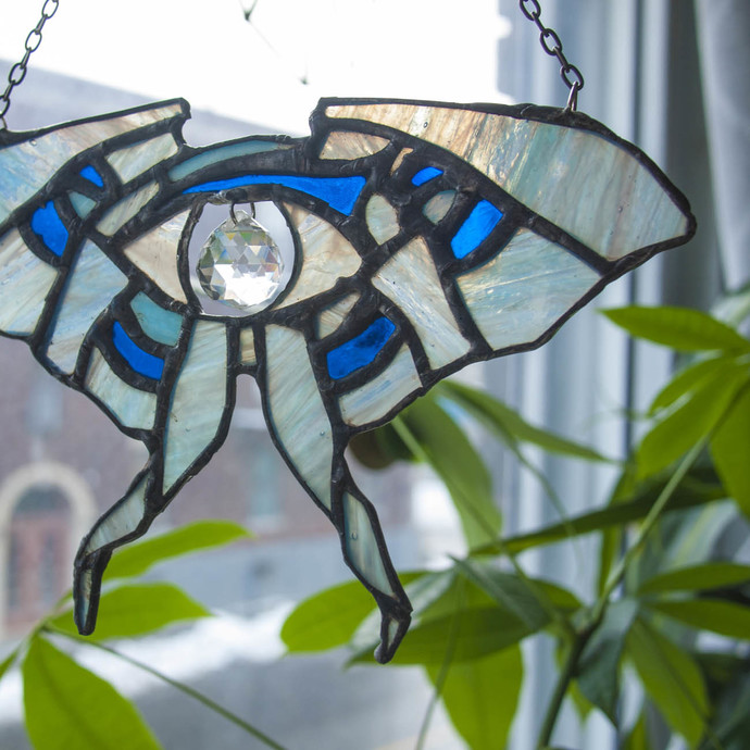 """Gentleness"" Stained Glass Luna Moth Talisman with Quartz-Glass Rainbow Maker"