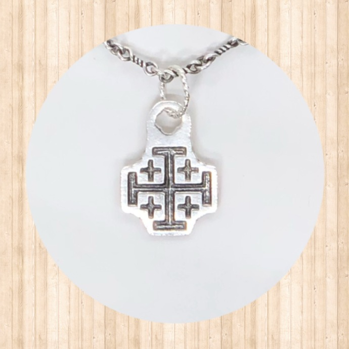 Sterling Silver Small Pendant with Jerusalem Cross.