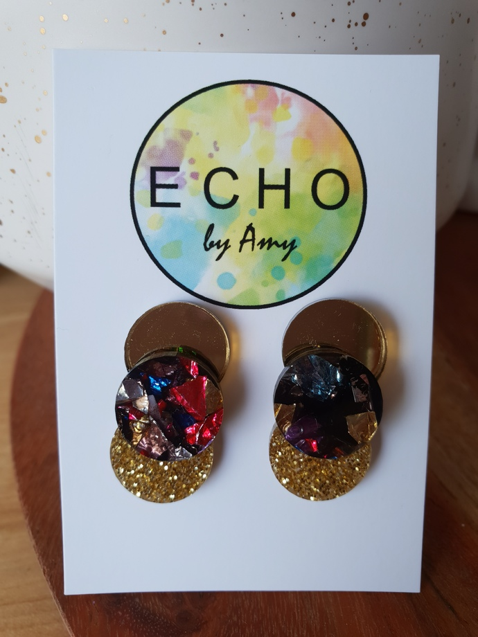 Layered Acrylic Statement Studs - harlequin & gold