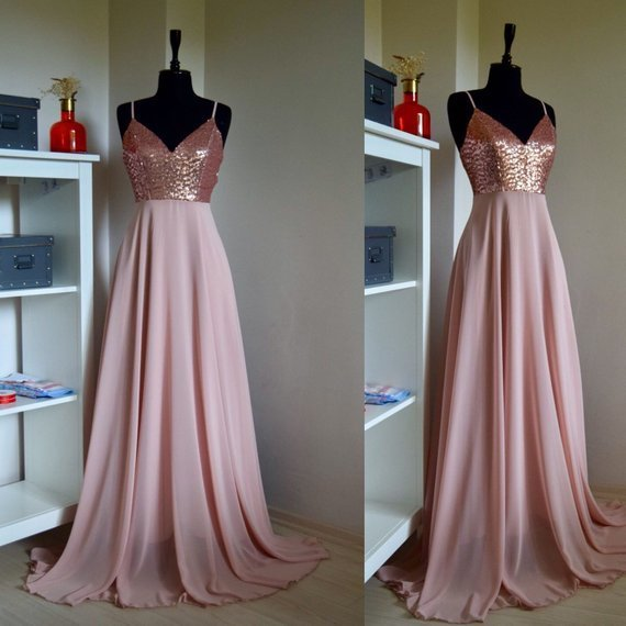 Charming Chiffon With Top Sequin Rose Gold Bridesmaid Dress, Wedding Reception