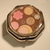 Pill box - 6-sided - Brown and pink flower and circles