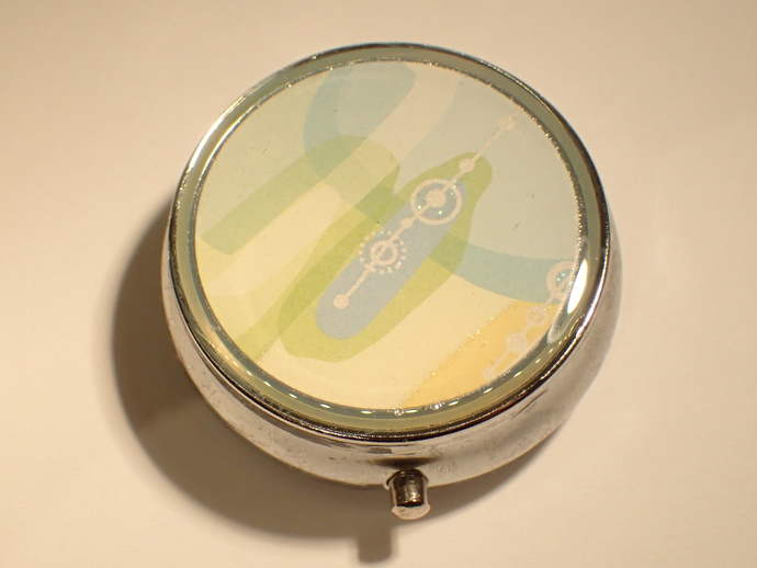Pill box - Round - Abstract - Yellow / Green / Blue