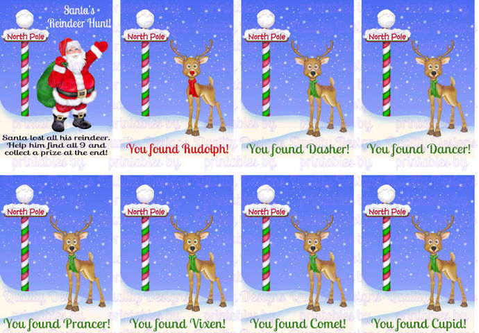 Reindeer Hunt, Printable Game, North Pole, Christmas, DIY