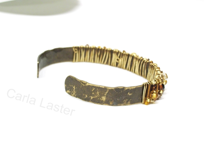 Gold and brown beaded bracelet, wire wrapped hammered cuff bracelet, Carla