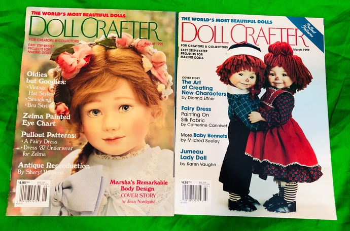 Vintage Doll Crafter Magazines, August 1998, March 1999, With Poissot Dress