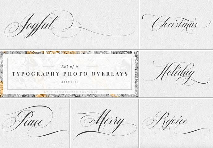 Typography Photo Overlays, Sentiments, Sayings, Christmas, Photoshop, Instant