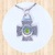 Sterling Silver Stacked Cross Pendant with Cobbled and Stained Glass Designs and