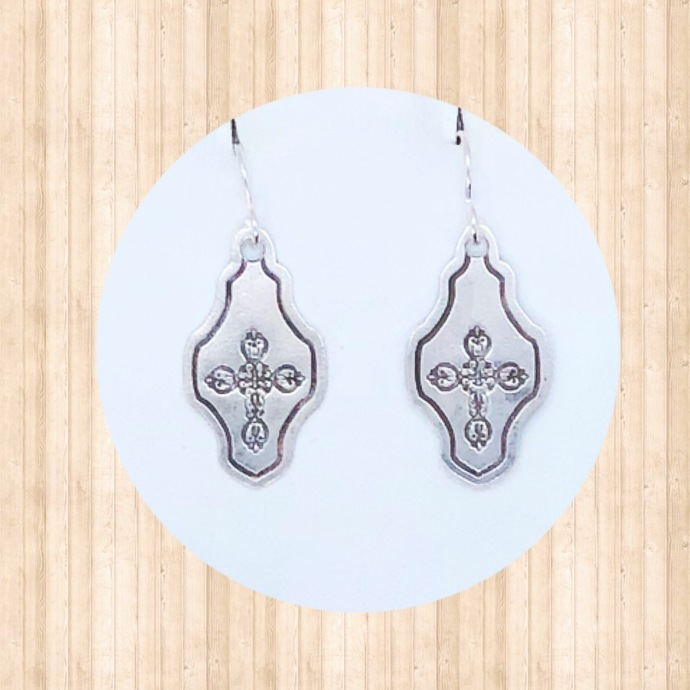 Sterling Silver Chandelier Dangle Earrings with Wrought Iron Cross