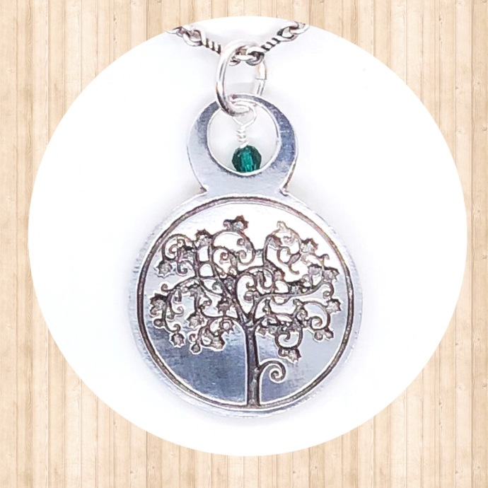 Sterling Silver. Circular Pendant with Tree of Life and Round 4mm Swarovski