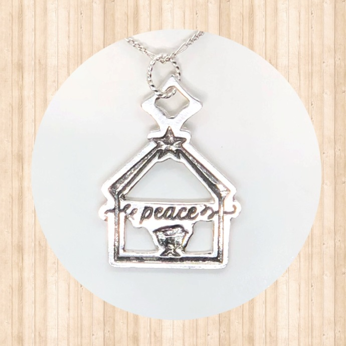 "Sterling Silver Nativity ""Peace"" Pendant."