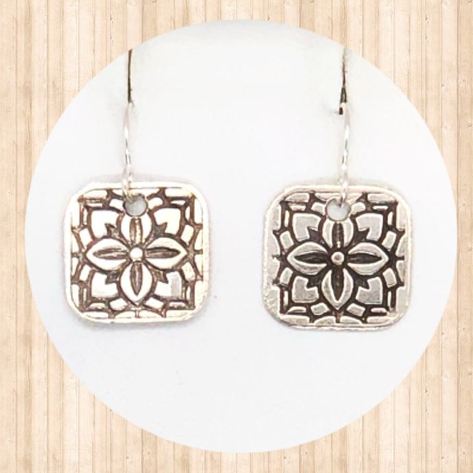 Sterling Silver Small Rounded Square Earrings with Stained Glass Design.