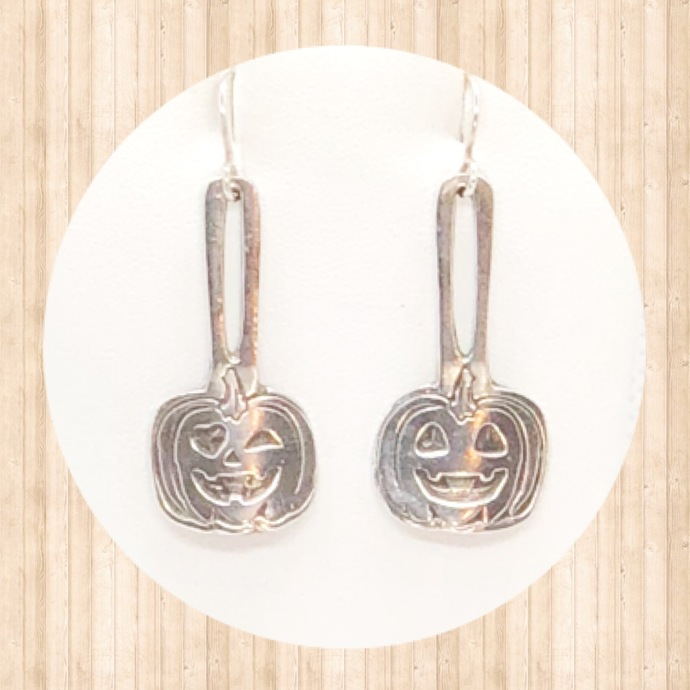 Sterling Silver Jack O Lantern Drop Earrings