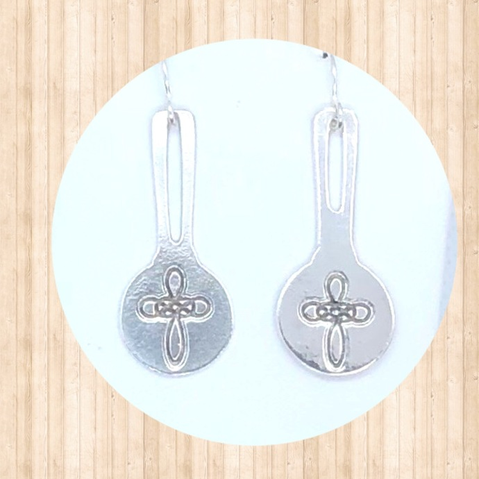 Sterling Silver Drop Earrings with Double Infinity Cross