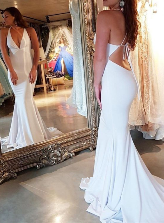 Mermaid V Neck Open Back Spaghetti Straps White Long Prom Dresses
