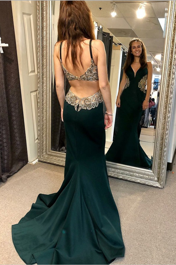 A-Line Open Back Green Satin Prom Dress with Appliques Beading Dresses