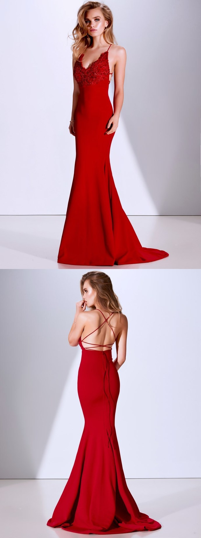 Sexy Mermaid Prom Dress,V-neck Prom Dresses,Spaghetti Straps Lace Prom Dress