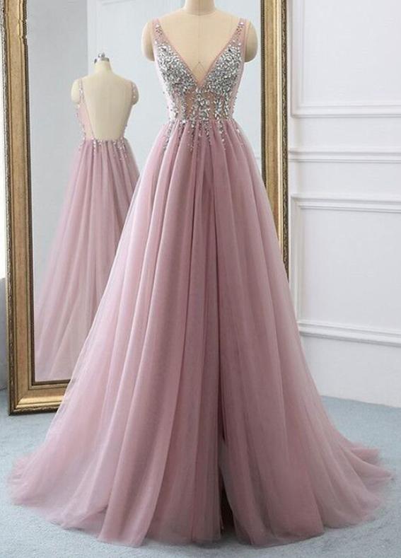 Pink tulle v neck sequins long open back senior prom dress, evening dress