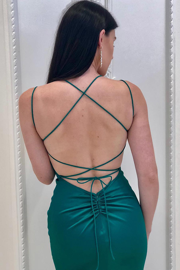 Turquoise Mermaid Straps Backless Long Prom Evening Dress