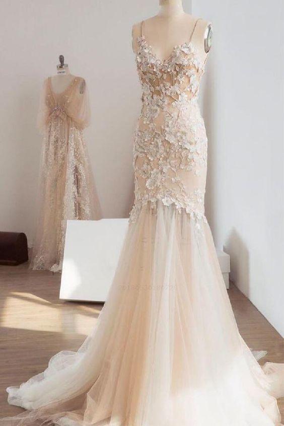 282832b9e06a5 Outlet Cute Prom Dresses Unique, Champagne Prom Dresses, Lace Prom Dresses