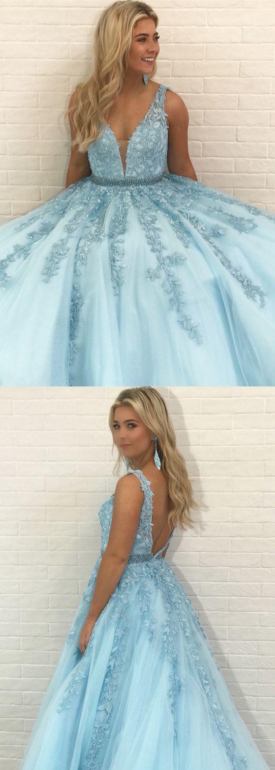 Gorgeous V Neck Blue Long Prom Dress with Lace Appliques